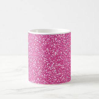 Cool trendy vibrant neon hot pink faux glitter classic white coffee mug