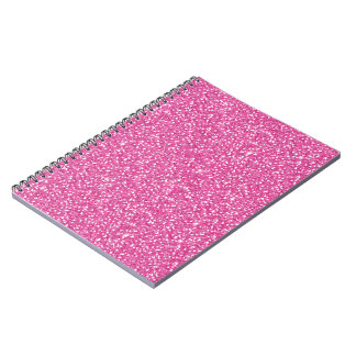 Cool trendy vibrant neon hot pink faux glitter notebook