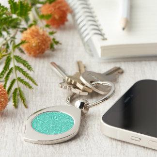 Cool trendy vibrant neon light blue faux glitter Silver-Colored swirl metal keychain