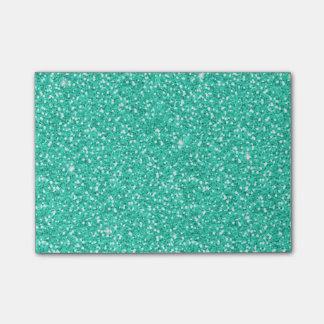 Cool trendy vibrant neon light blue faux glitter post-it® notes