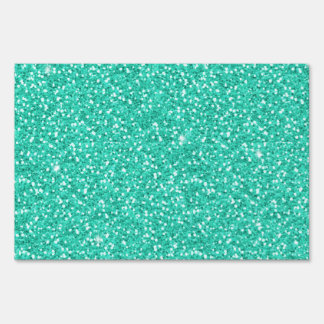 Cool trendy vibrant neon light blue faux glitter lawn signs