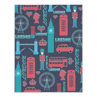"Cool trendy vintage London illustrations pattern 4.25"" X 5.5"" Invitation Card"