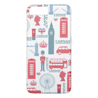 Cool trendy vintage London illustrations pattern iPhone 7 Plus Case