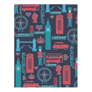 Cool trendy vintage London illustrations pattern Postcard