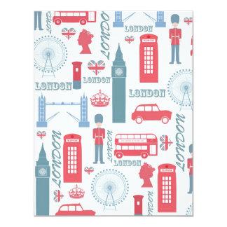 """Cool trendy vintage London landmark illustrations 4.25"""" X 5.5"""" Invitation Card"""