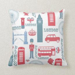 Cool trendy vintage London landmark illustrations Throw Pillow