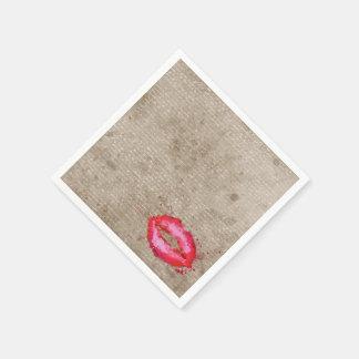 Cool trendy vintage watercolours lips splatters napkin