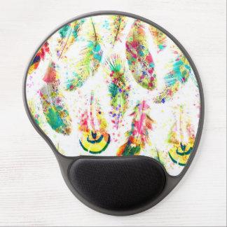 Cool trendy watercolor neon splatters feathers gel mouse mat