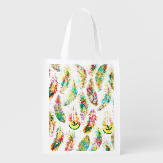 Cool trendy watercolor neon splatters feathers grocery bag