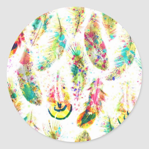 Cool trendy watercolor neon splatters feathers round stickers