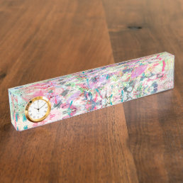 Cool trendy watercolor splatters abstract art desk name plate
