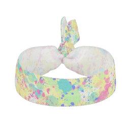 Cool trendy watercolor splatters abstract art ribbon hair tie
