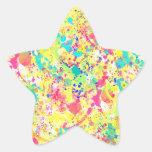 Cool trendy watercolor splatters abstract art star sticker