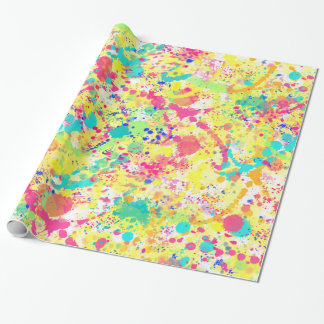 Cool trendy watercolor splatters abstract art wrapping paper