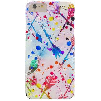 Cool trendy watercolor splatters tribal arrows barely there iPhone 6 plus case