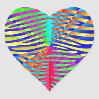 Cool trendy Zebra pattern colorful rainbow stripes Heart Sticker