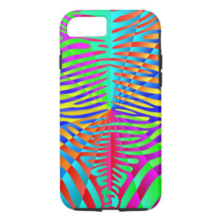 Cool trendy Zebra pattern colorful rainbow stripes iPhone 7 Case