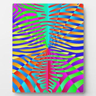 Cool trendy Zebra pattern colorful rainbow stripes Photo Plaque