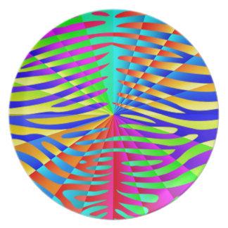 Cool trendy Zebra pattern colorful rainbow stripes Plates