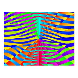 Cool trendy Zebra pattern colorful rainbow stripes Postcard