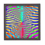 Cool trendy Zebra pattern colorful rainbow stripes Premium Keepsake Boxes