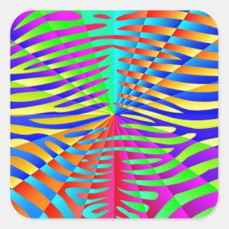 Cool trendy Zebra pattern colorful rainbow stripes Square Sticker