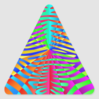 Cool trendy Zebra pattern colorful rainbow stripes Triangle Sticker