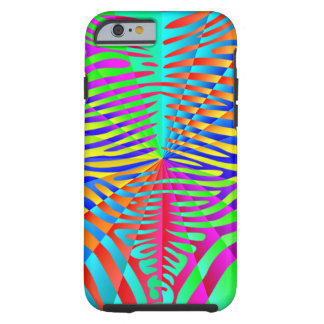 Cool trendy Zebra pattern colorful rainbow stripes Tough iPhone 6 Case