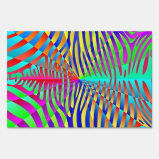 Cool trendy Zebra pattern colorful rainbow stripes Lawn Signs