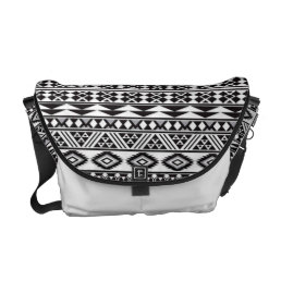 cool tribal pattern geomatric black and white messenger bag