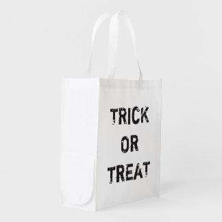 Cool Trick Treat Halloween Custom Black White Reusable Grocery Bag