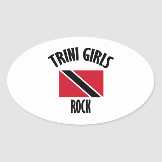 cool Trini girls DESIGNS Oval Sticker
