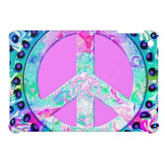 Cool Trippy Peace Sign, Hot Pink & Aqua iPad Mini Case