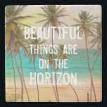 """Cool Tropical Hawaiian Beach Palm Trees Stone Coaster<br><div class=""""desc"""">A beautiful tropical Hawaiian beach and palm trees with white inspirational writing beautiful things are on the horizon. A cool summer time design . Get this relaxing watercolor tropical beach palm trees design for her on anyone on any occasion. The perfect gift idea.</div>"""