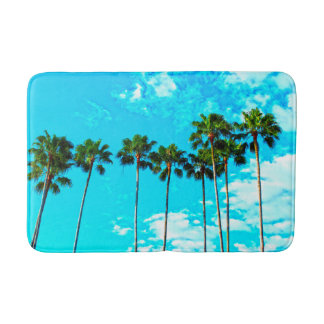 cool tropical palm trees blue sky bathroom mat