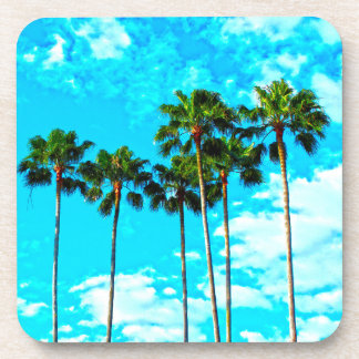 Cool Tropical Palm Trees Blue Sky Beverage Coaster