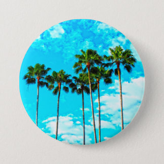 Cool Tropical Palm Trees Blue Sky Button
