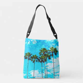 Cool Tropical Palm Trees Blue Sky Crossbody Bag