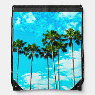 Cool Tropical Palm Trees Blue Sky Drawstring Backpack