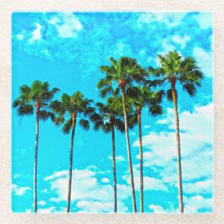 Cool Tropical Palm Trees Blue Sky Glass Coaster