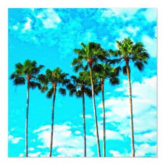 Cool Tropical Palm Trees Blue Sky Magnetic Card
