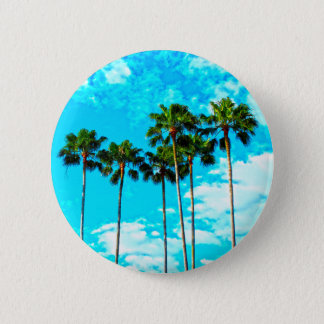 Cool Tropical Palm Trees Blue Sky Pinback Button