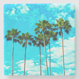 Cool Tropical Palm Trees Blue Sky Stone Coaster