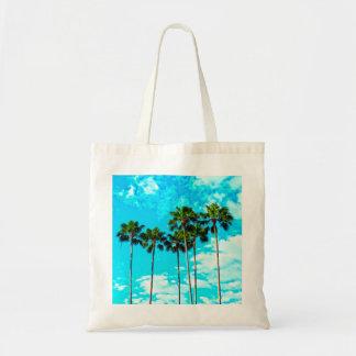 Cool Tropical Palm Trees Blue Sky Tote Bag