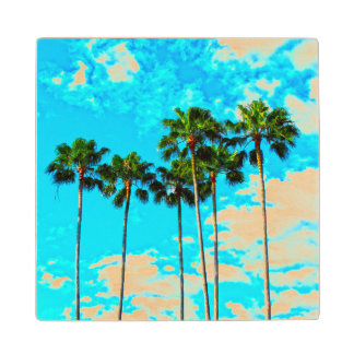 Cool Tropical Palm Trees Blue Sky Wooden Coaster