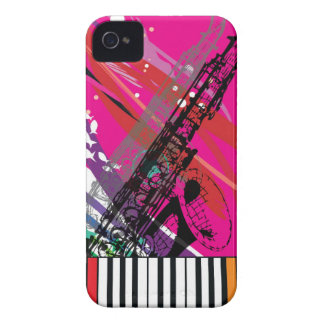 Cool Trumpet & Piano Keyboard with Pink Pop Bg   Case-Mate iPhone 4 Case