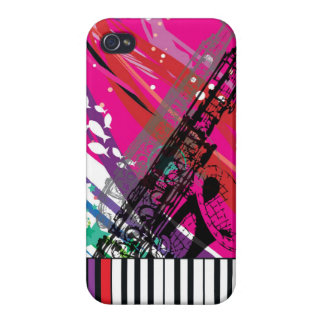 Cool Trumpet & Piano Keyboard with Pink Pop Bg   iPhone 4/4S Covers