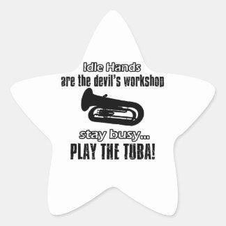Cool Tuba designs Star Sticker