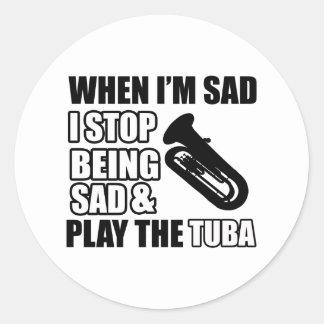 Cool Tuba designs Classic Round Sticker