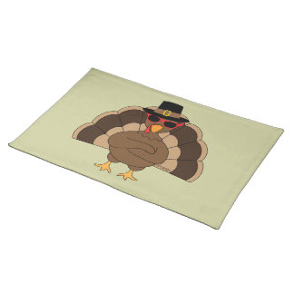 Cool Turkey w sunglasses Happy Thanksgiving Cloth Placemat
